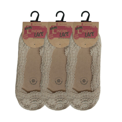 Womens Lace Liners Socks Ladies Cotton Animal Print Invisible Footwear Invis New