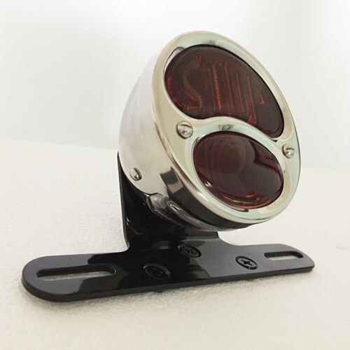 Model A Tail Light with License Bracket Pol S//S with Stop Lens Motorcycle