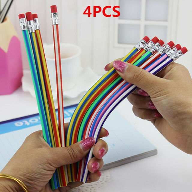 4pcs Magic Bendy Flexible Soft Pencil with Eraser Colorful Cute Student School