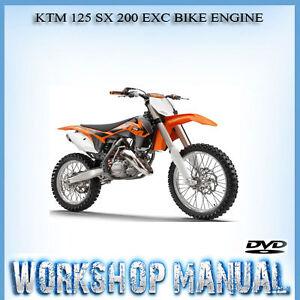 ktm 125 sx 200 exc bike engine workshop repair service manual in