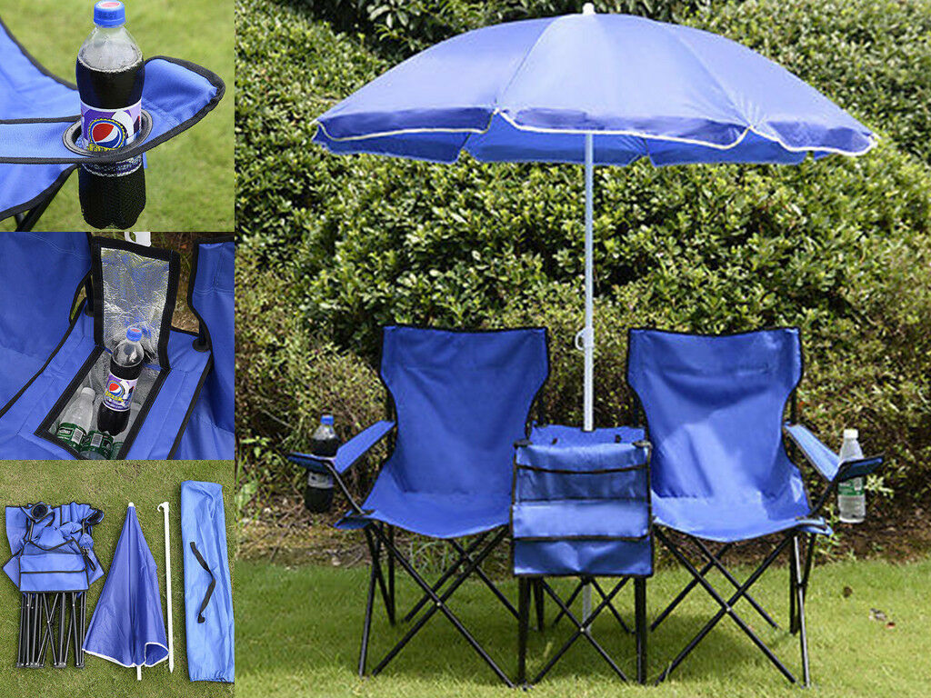 Portable Travel Folding Picnic BBQ Double Chair W Umbrella Table Beach Outdoor W