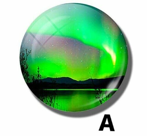 Beautiful Northern Lights Aurora Borealis Glass Dome Fridge Magnets 3cm x 0.5cm