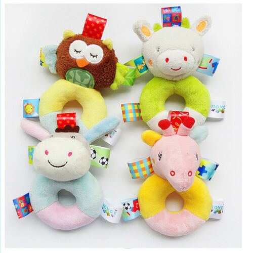 Baby Cute Animal Rattle Ring Bell Newborn Infrant Hand Grasp Toys Appease Doll S
