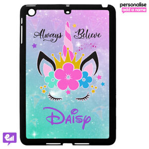 reputable site 4b954 b0e43 Details about Personalised UNICORN Hard Case Cover for iPad AIR / MINI  Fantasy Kids Gift Girl