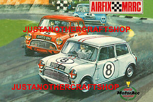airfix mini cooper 1960's poster a3 size advert shop sign box