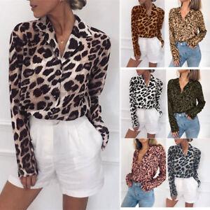 060e5d92 Women Long Sleeve Open Front T-Shirts V-Neck Button Up Shirt Leopard ...
