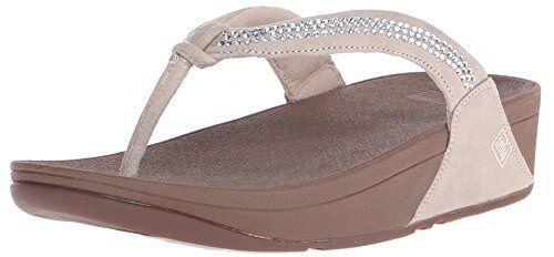 76d04b05b FitFlop Size 9 Crystal Swirl Beige Suede Flip Flops Sandals Womens Shoes  for sale online