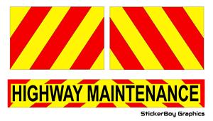 Highway Maintenance Stickers Highways Road Works Chevron Sticker package KIT