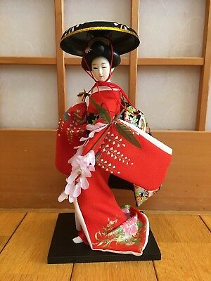 """16/""""Japanese Folk Kimono Geisha Doll Maiko Doll Puppet Stand on Base for Decorative Home and Hotel Gifts Doll Classic Red-JKD00007, 16"""
