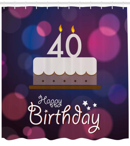 40th Birthday Pattern Shower Curtain Fabric Decor Set with Hooks 4 Sizes