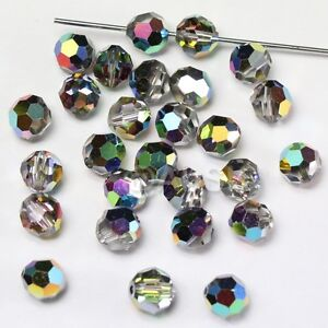 48 pcs Swarovski 5000 faceted 4mm Round Ball Beads Crystal Vitrail Medium VM