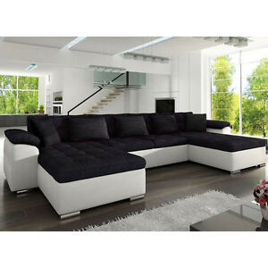 Corner Sofa Bed WICENZA Sleep Function Faux Leather Fabric