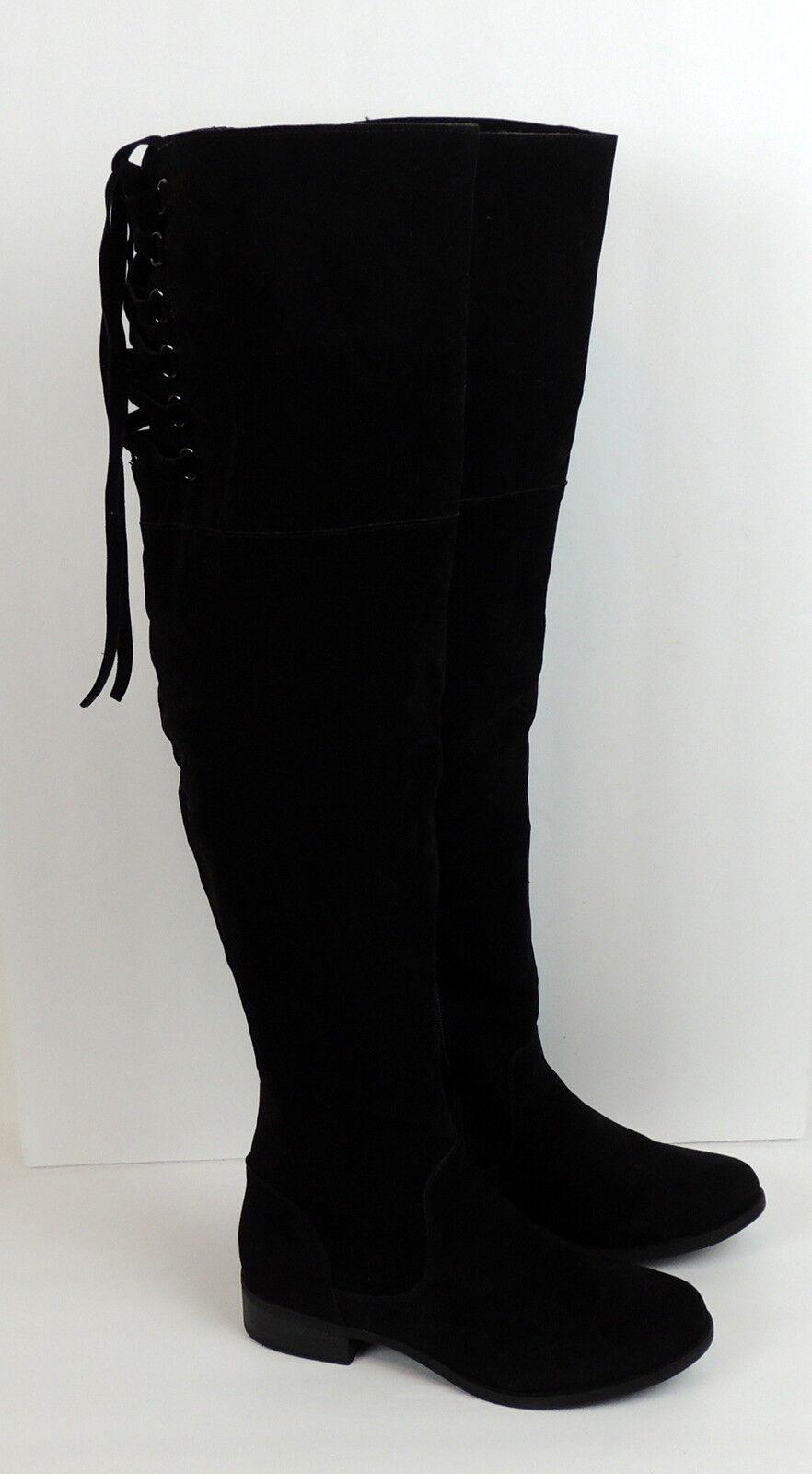 zapatosdazzle para mujer 7.5 MAYLA Negro Vegano alto del muslo botas Cosplay Corsé Cordones