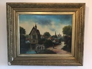 Antique-very-old-gilt-framed-original-signed-oil-painting-Henry-Charles-Heffer
