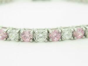 Platinum-Sterling-Silver-Pink-amp-White-Sapphire-Round-Cut-Tennis-Bracelet-Gift