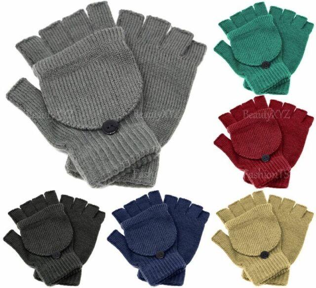 JSPOYOU Unisex Men Women Knitted Fingerless Winter Gloves Soft Warm Mitten