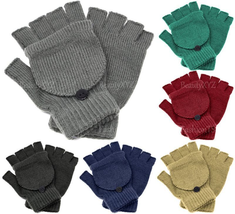 Active New Unisex Mitten Gloves Fingerless Insulated Knit Winter Gloves Men Women Warm Clients First