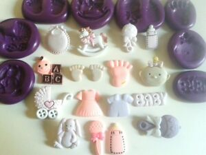 Cake Decorating Silicone Molds Uk : BABY BABIES Silicone Moulds Cake Decorating Fimo Icing ...