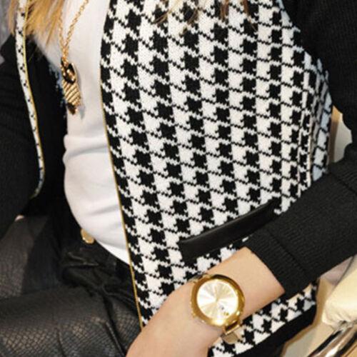 Women/'s Houndstooth Zip Blazer Suit Short Jacket Casual Long Sleeve Coat Outwear