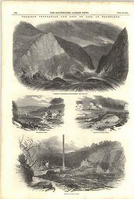 1852 Terrible Flood Reservoir Burst Holmfirth Broadhead's Mill Dighley