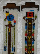 """Vtg KITCH Pair Completed 70's Kachina Latch Hook Wall Art Hanging 9 1/8"""" X40"""" ea"""