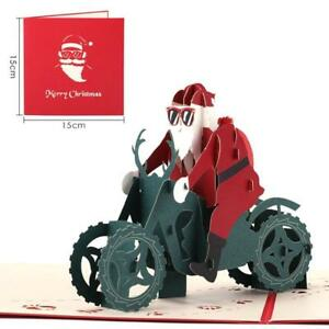 3D-Up-Christmas-Cards-Blessing-Gift-Santa-Claus-Riding-Motorcycle-Cards