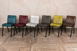 Industrial Style Ribbed Dining Chairs Range Of Colours Leather Look
