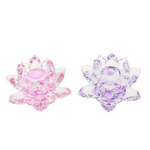 2pcs-Crystal-Figurine-Lotus-Flower-Model-Wedding-Centerpieces-Purple-amp-Pink