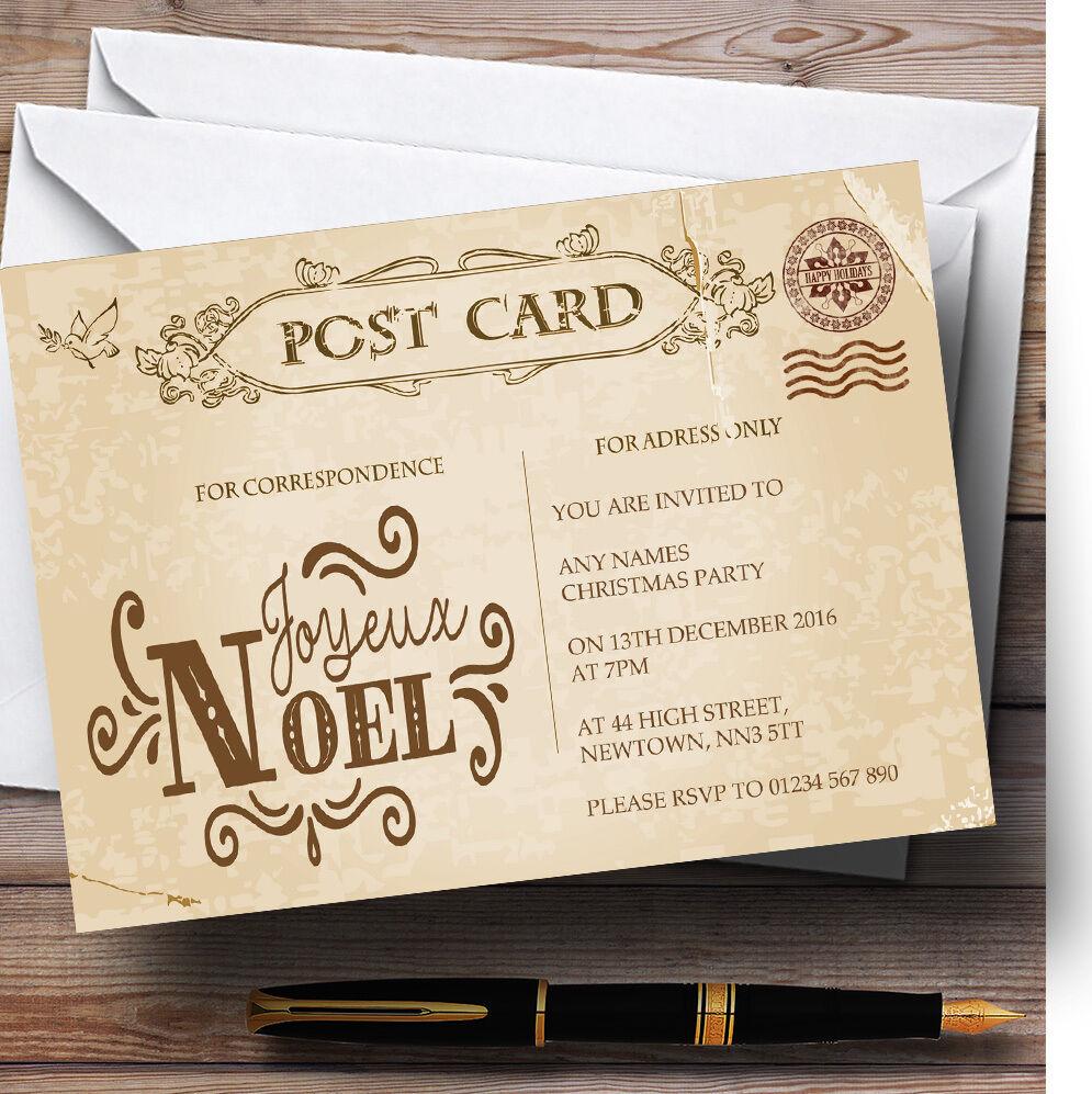 Rustique vintage vintage Rustique carte postale noel personnalisé noël party invitations a1aec7