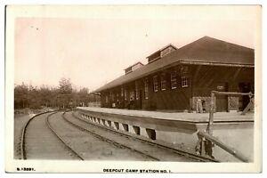 Antique-WW1-military-RPPC-postcard-Deepcut-Camp-Station-No-1-railway