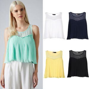 Women-New-Cute-Boat-Neck-Blouse-Vest-Pleated-Flare-Crop-Top-Shirt-8-14-UK