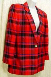 Bright-Loud-RETRO-PLAID-Pink-Red-Black-100-Rayon-DANA-BROOKE-Blazer-Jacket-4