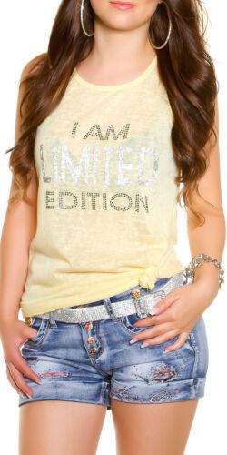 Top Träger Shirt Strass Glitzer Sommer Freizeit Mode Party S M 36 38 Damen