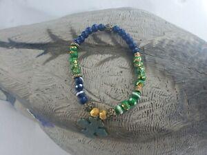 Hand painted handmade green/blue golden stretch bracelet with cross