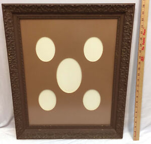 Picture Frame Antique Wood Wooden Painted Brown Glass Front Oval Matting 24x20 Antiques