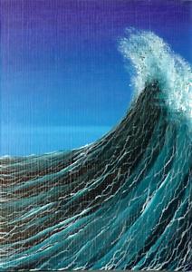 ACEO Original Acrylic Miniature Ocean Nautical Seascape Waves Sea Painting HYMES