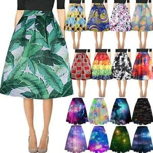 Women-039-s-Graphic-Print-Swing-Dress-High-Waist-Pleated-Skater-Flared-A-Line-Skirt