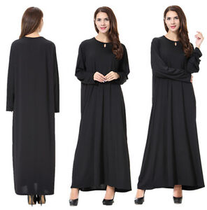 Womens Black Maxi Abaya Jilbab Islamic Prayer Kaftan Muslim Dress Arab Long Robe