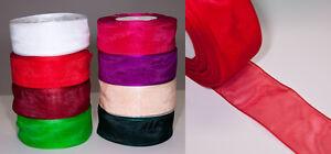 Organza-Schleifenband-38mm-x-45m-0-06-m-mit-Webkante-Geschenkband
