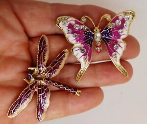 Butterfly-dragonfly-brooch-purple-enamel-crystal-vintage-style-pins-in-gift-box