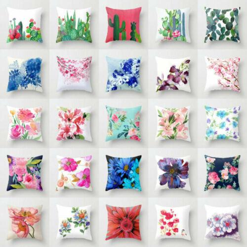 Cotton Linen Plant Pillow Case Sofa Car Throw Waist Cushion Cover Home Decor