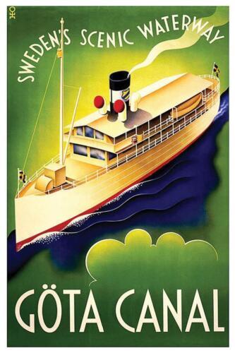 Gota Canal Sweden Vintage Travel Art Print Mural Poster 36x54 inch