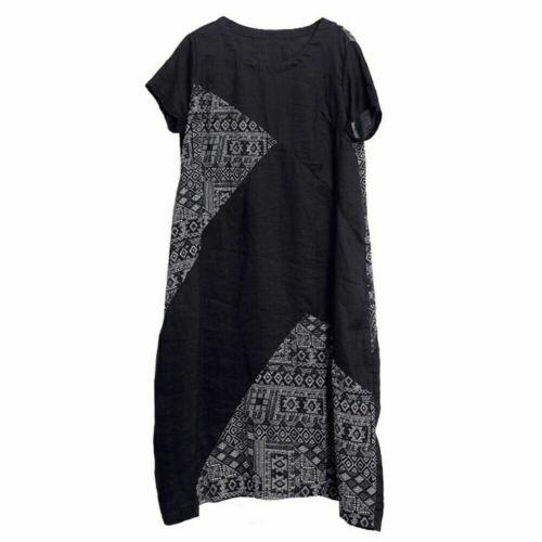 Damen Leinen Kurzärmelig Geometrisch Baggy Kleid Ethnisch Tasche Rundhals Tunika