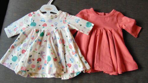 M/&s Set de 2 riche en coton L//manches longues robes de nouveau-nés 50 cm Rose Mix BNWT
