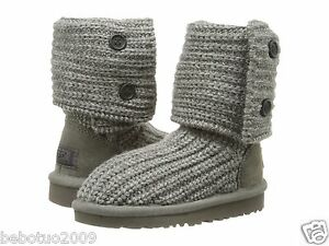 c756dcc5eb3 NEW KIDS GIRLS WOMEN UGG AUSTRALIA KNIT BOOT CLASSIC CARDY GREY GRAY ...