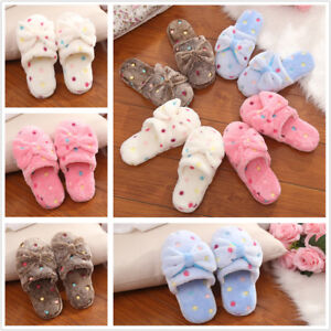 Women-039-s-Winter-Warm-Soft-Bowknot-Bedroom-Slippers-Shoes-House-Indoor-Floor-Shoes