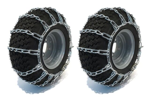 PAIR 2 LINK TIRE CHAINS 20X10.00X8 FOR GARDEN TRACTORS  RIDERS  SNOWBLOWER