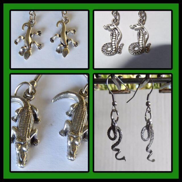 Crocodile, Snake, Gecko, Hiss,Strike, reptiles hook earrings