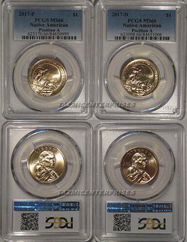 2017 P /& D Native Sacagawea Dollar 2 Coin Set $1 PCGS MS66 Position A
