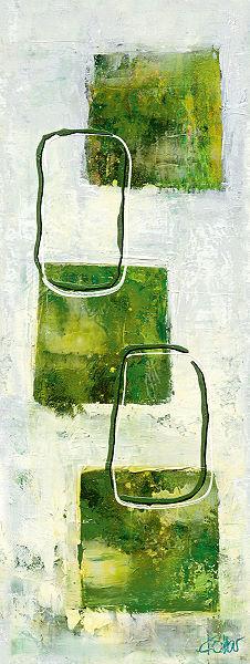 Ines Kollar  Grün Windows II KeilrahmenBild 30x80 Leinwand abstrakt Grün modern